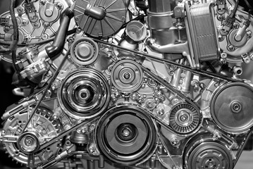 Close-up at view, details of petrol engine, shiny and new Wall mural
