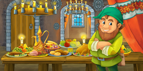 Cartoon fairy tale scene with dwarf prince by the table full of food - illustration for children