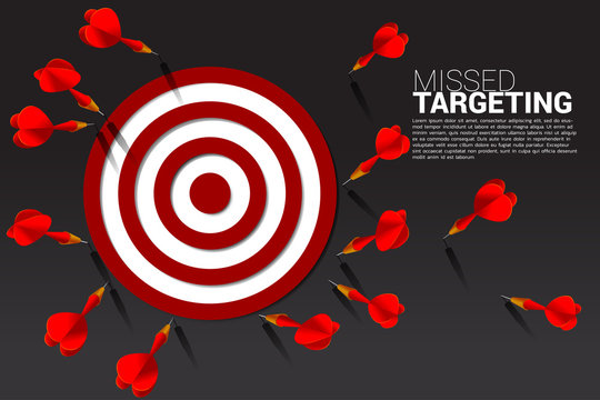 dart arrow hit out of the dartboard . Business Concept of missing the marketing target and customer.Fail on company mission and goal.