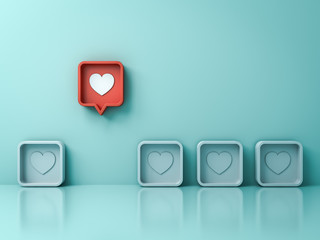 Fototapeta Stand out from the crowd and different creative idea concepts One red 3d social media notification love like heart pin icon pop up from others on light green pastel color wall background 3D rendering obraz