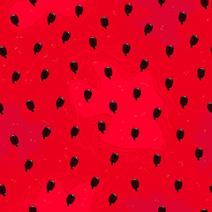 Vector watermelon seamless pattern with black seeds