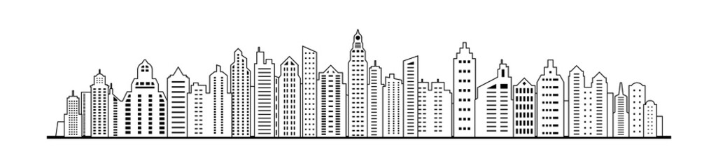Wall Mural - linear City skyline. City panorama landscape template. Urban landscape. Vector illustration.