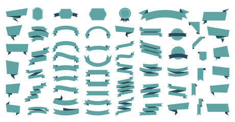 Wall Mural - Flat vector ribbons banners flat isolated on white background, Illustration Set of ribbons. Ribbon vector.
