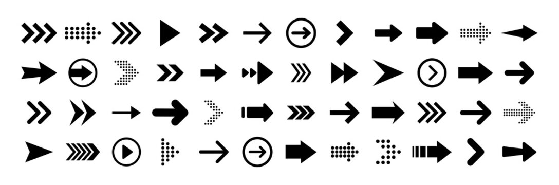 Arrows big black set icons. Arrow icon. Arrow vector collection. Arrow. Cursor. Modern simple arrows. Vector illustration.