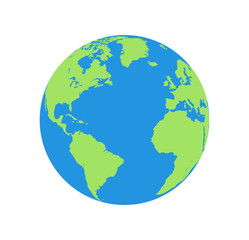 Wall Mural - Flat planet Earth icon. Illustration of a world globe isolated on a white background.