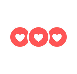 Wall Mural - Like and Heart icon. Live stream video, chat, likes. Social nets like red heart web buttons isolated on white background. Vector illustaration.