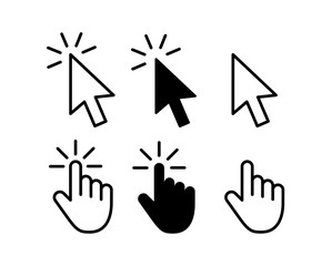 Computer mouse click cursor gray arrow icons set and loading icons. Cursor icon. Vector illustration.