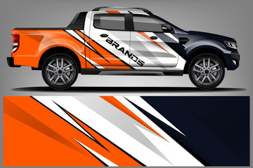 Fototapete - truck and car decal design vector kit. abstract background graphics for vehicle advertisement and vinyl wrap