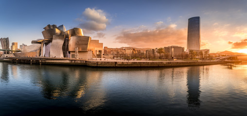 Bilbao waterfront during sunset Basque Country Spain aerial view Wall mural