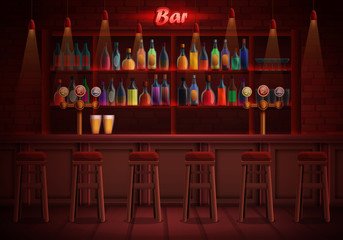 interior of a pub with chairs and an assortment of alcohol, vector illustration