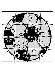 fußball puzzle spielen ball verein sport kicken rund teil puzzlespiel puzzleteil puzzlestück puzzeln form logo spaß bild design cool umriss hobby