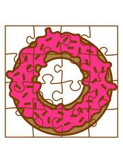 donut puzzle essen lecker hunger süßigkeit gebäck ring rund teil puzzlespiel puzzleteil puzzlestück puzzeln form logo spaß bild design cool umriss hobby