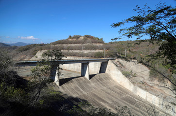 A dry sector of the Moncion Dam is seen as the Caribbean nation endures its worst drought in 30 years, in Moncion
