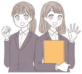 ビジネスウーマン 就活生 会社員 若い女性 2人