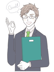 スーツ ビジネスマン 講師 若い男性