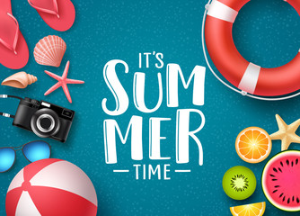 It's summer time vector banner design with text and summer elements like beach ball, seashells and fruits in blue textured background. Vector illustration.
