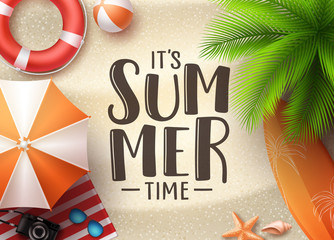 It's summer time seascape vector banner design. Summer seascape background with colorful beach elements like beach ball, umbrella and palm tree in the sand. Vector illustration.