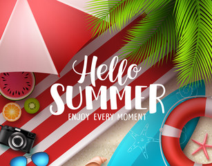 Hello summer vector banner design. Hello summer text with colorful beach elements like surfboard, lifebuoy and beach umbrella under coconut tree. Vector illustration.