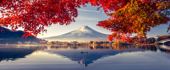 Poster Mountains Colorful Autumn Season and Mountain Fuji with morning fog and red leaves at lake Kawaguchiko is one of the best places in Japan