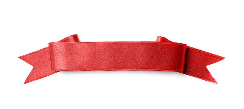 Beautiful satin ribbon on white background. Mockup for design