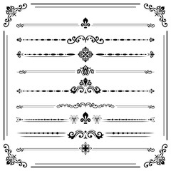 Vintage set of decorative elements. Horizontal separators in the frame. Collection of different ornaments. Classic patterns. Set of vintage black patterns