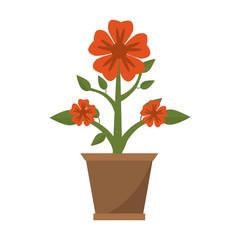Flower in pot gardening cartoon