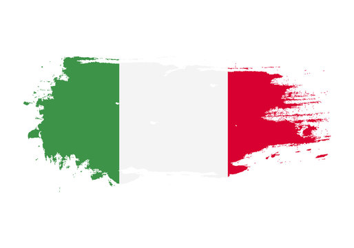 Grunge brush stroke with italy national flag. Watercolor painting flag. Symbol, poster, banner. Vector Isolated on white background.