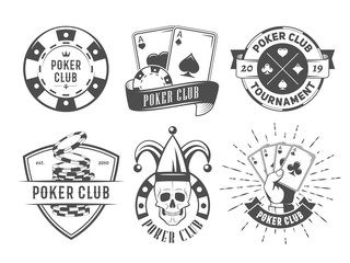 Vector poker club logos. Set of vintage badges with playing cards and chips for poker tournament or casino.