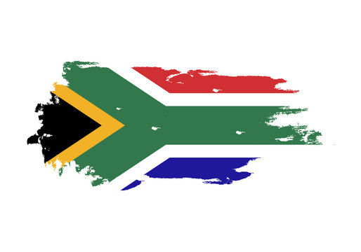 Grunge brush stroke with south african national flag. Watercolor painting flag. Symbol, poster, banner. Vector Isolated on white background.