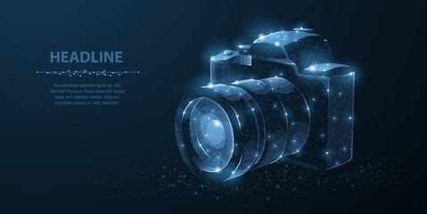 Camera. Abstract 3d polygonal wireframe modern professional camera isolated on blue.