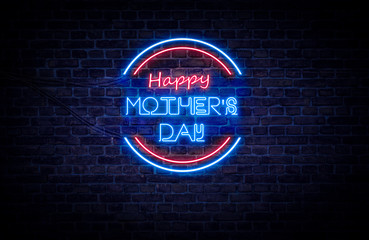 A red and blue neon light sign that reads: Happy Mother's Day