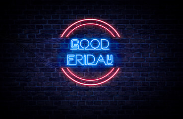 A red and blue neon light sign that reads: Good Friday