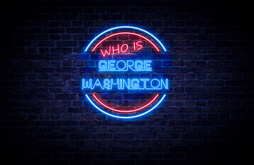 A red and blue neon sign on a brick wall that reads: Who is George Washington