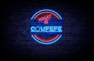 A red and blue neon light sign that reads: What is Covfefe