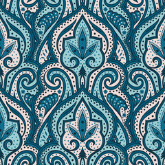 Indian paisley pattern vector seamless. Floral damask ornament. Oriental scale motif. Batik Indonesia ethnic print. Classic design for silk scarf fabric, curtain textile, wallpaper, boho blanket.
