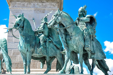 Heroes' Square in Budapest Hungary. Is one of the major public squares. Noted for statue complex featuring the Seven chieftains of the Magyars and other important Hungarian national leaders.