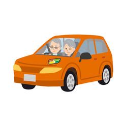 運転する シニア イラスト