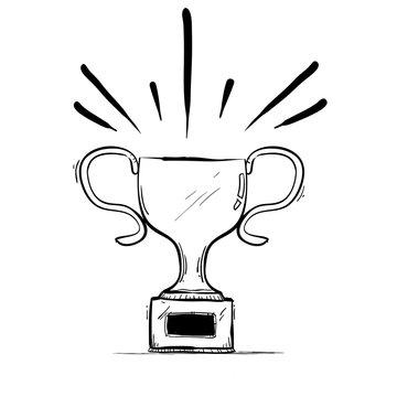 hand drawn Winner Trophy Doodle vector
