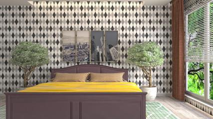 Foto op Canvas Marokko Bedroom interior. 3d illustration