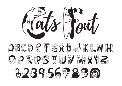 Cats font, cute black and white alphabet, numbers