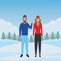 couple wearing winter clothes