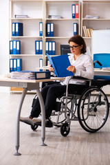 Female employee in wheel-chair at the office