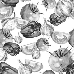 Seamless watercolor pattern of tomatoes,garlic, onion,sweet pepper Vintage drawing of vegetables.  card, wallpaper, banner, panel or frame. Silhouette Vegetables tomatoes, garlic, onion, pepper.