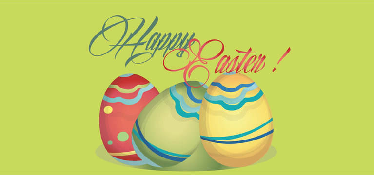 Happy Easter Holiday Card with Eggs. Web banner with Happy Easter Copy