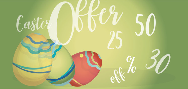 Easter Offer Advertising Banner with Colorful Eggs and Percent Off