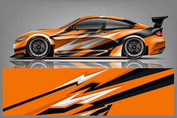 Sport car racing wrap design. vector design.