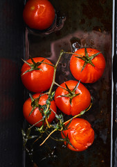 Closeup view of roasted tomatoes