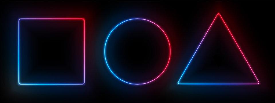 Neon frames, disco light bulbs. Vector rectangle, triangle and circle light bulb neon frames on black background