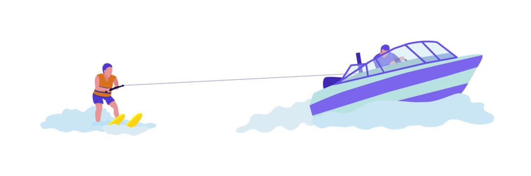 Woman doing water-skiing flat vector illustration