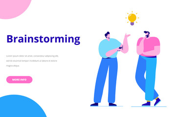 Wall Mural - Brainstorming creative team idea discussion people. Business idea. Team thinking and brainstorming. Analytics of company information. Flat vector illustration
